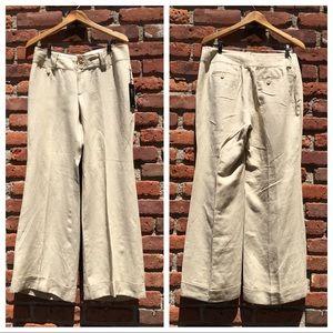 BANANA REPUBLIC Tan Linen-Silk Wide-Leg Pants-10P